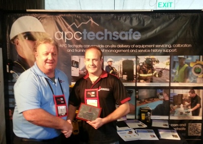 Jacob Greenlaw receives the APC Techsafe Award from Dave Catt (APC Techsafe) for outstanding examination results